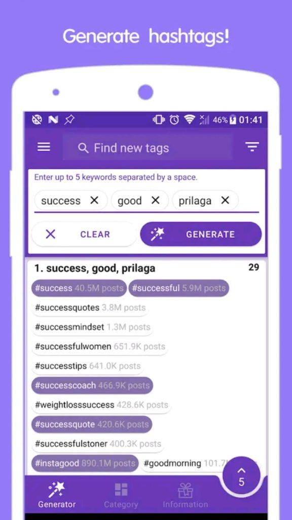 hashtag bulmak için in Tags android mobil uygulaması